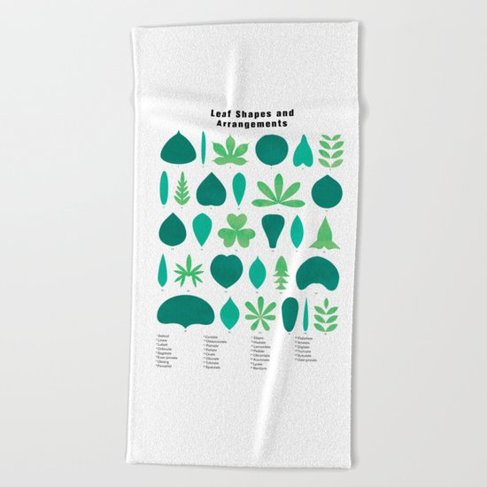 Leaf Shapes and Arrangements in Detail Beach Towel
