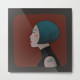 City girl with teal hair Metal Print