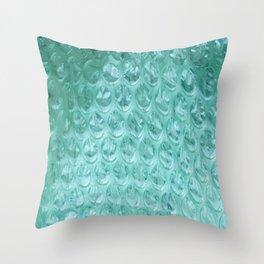 Aqua Bubble Wrap Throw Pillow