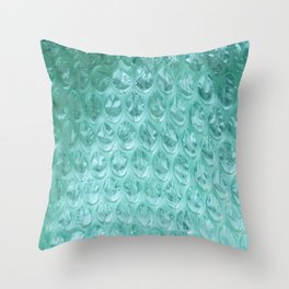 Aqua Bubble Wrap Throw Pillow