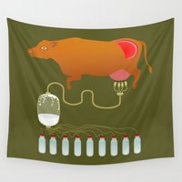 cow Wall Tapestries featuring Cow by Mira Maijala
