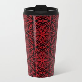 Black and red geometric flowers 5006 Travel Mug