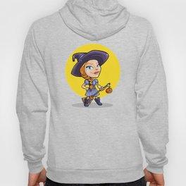 Cute witch with broom halloween cartoon Hoody