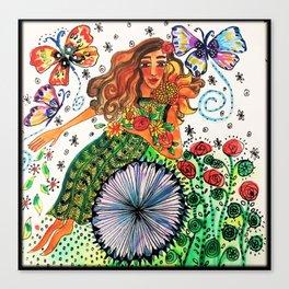 Persephone in Her Garden Canvas Print