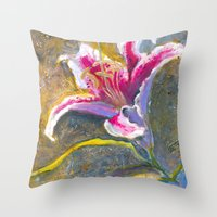 lily Throw Pillows featuring Lily by Spinning Daydreams
