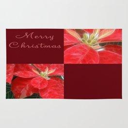 Mottled Red Poinsettia 1 Ephemeral Merry Christmas Q10F1 Rug