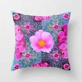AQUA PINK ROSES & ORCHIDS GREEN-BLACK ART Throw Pillow