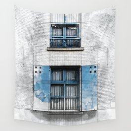 Architect Drawing of Blue Wooden Windows Wall Tapestry