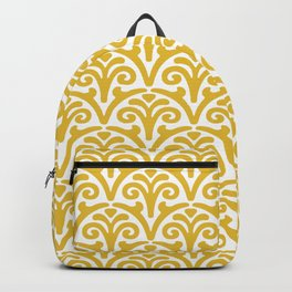 Floral Scallop Pattern Mustard Yellow Backpack