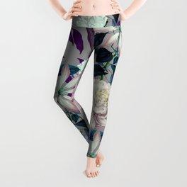 Flowery vintage pattern 0I Leggings