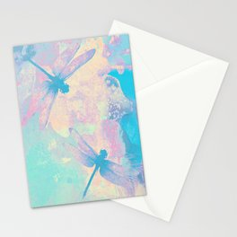 Blue Painting Dragonflies Stationery Cards