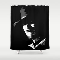 clint eastwood Shower Curtains featuring CLINT by DRMdesign