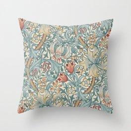 William Morris Vintage Golden Lily Slate Blue & Manilla Throw Pillow