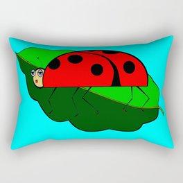 A Ladybug on a Leaf Rectangular Pillow