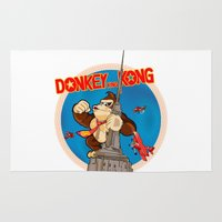 donkey kong Area & Throw Rugs featuring Donkey King Kong by Vickn
