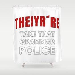 Grammar Police Shower Curtain