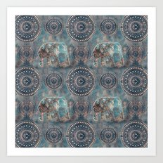 Elephant Ethnic Style Pattern Teal and Copper Art Print