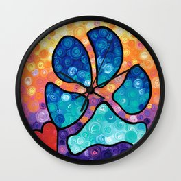 Puppy Love - Colorful Dog Paw Art By Sharon Cummings Wall Clock