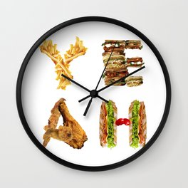 Fast Food Typography  Wall Clock