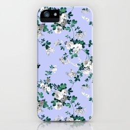 Vintage lavender white emerald green floral iPhone Case