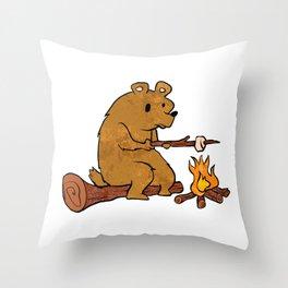 bear roasting marshmallows. Throw Pillow