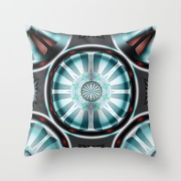 Pinwheel Hubcap in Aqua Throw Pillow