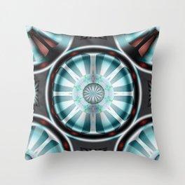 Pinwheel Hubcap in Aqua Throw Pillow
