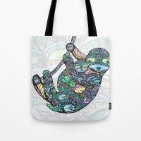 sloths Tote Bags featuring Sleepy Sloths by LindseyRossInk