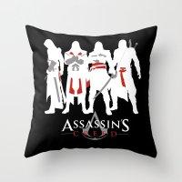 assassins creed Throw Pillows featuring Assassins by Pixel Design