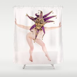 1417s-MM The Jester Bares All High Key Fine Art Masked Nude Shower Curtain