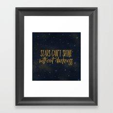 Stars- Darkness - sparkling gold glitter night typography 1 Framed Art Print