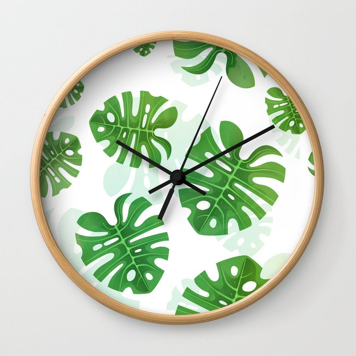 Tropical Vibes Collection: Monstera deliciosa II Wall Clock