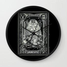 JUSTICE of Tarot Cat Wall Clock