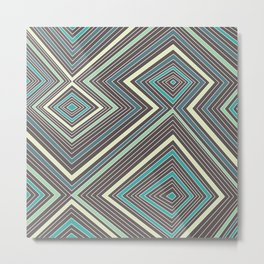 Blue, Yellow, Green and Gray Lines - Illusion Metal Print