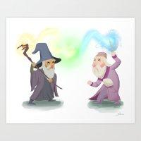 dumbledore Art Prints featuring Dumbledore VS Gandalf by Billy Blue