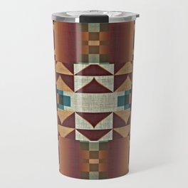 Native American Indian Tribal Mosaic Rustic Cabin Pattern Travel Mug