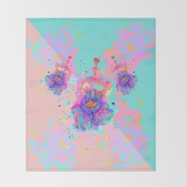 Colorful Watercolor Flower Throw Blanket