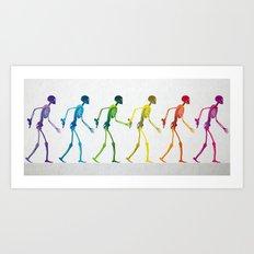 walking sketeton with gun Art Print