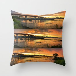 July Sunset on Casco Bay (6) Throw Pillow