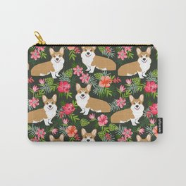 Corgi Hawaiian Print Tropical hibiscus flower cute corgi dog pattern Carry-All Pouch