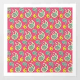 Pastel Pink and teal Boho Paisley pattern Art Print