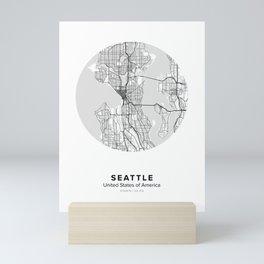 Seattle Circle Map Mini Art Print