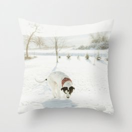 A Dog in Winter Throw Pillow