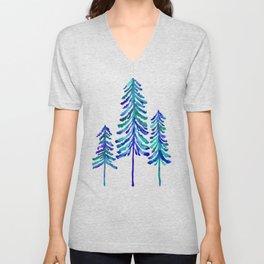 Pine Trees – Navy & Turquoise Palette Unisex V-Neck