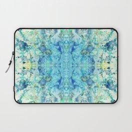 Aqua & Mint Symmetrical Watercolor Abstract Laptop Sleeve