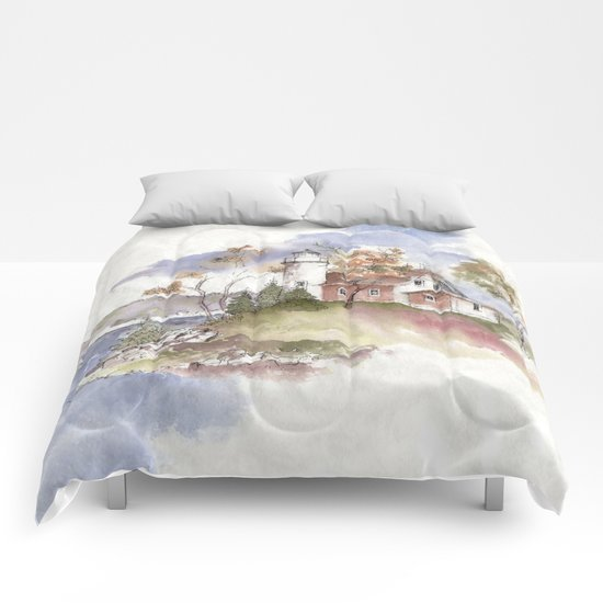 Summer at Eagle Harbor Lighthouse Comforters