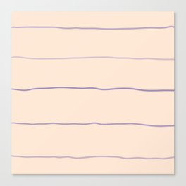 Horizontal Lines Purple Beige Canvas Print