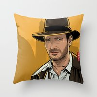 indiana Throw Pillows featuring Indiana by Akyanyme