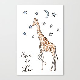 """Typography """"reach for the star"""" Giraffe Canvas Print"""