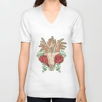 hands V-neck T-shirts featuring Hands by ArDem